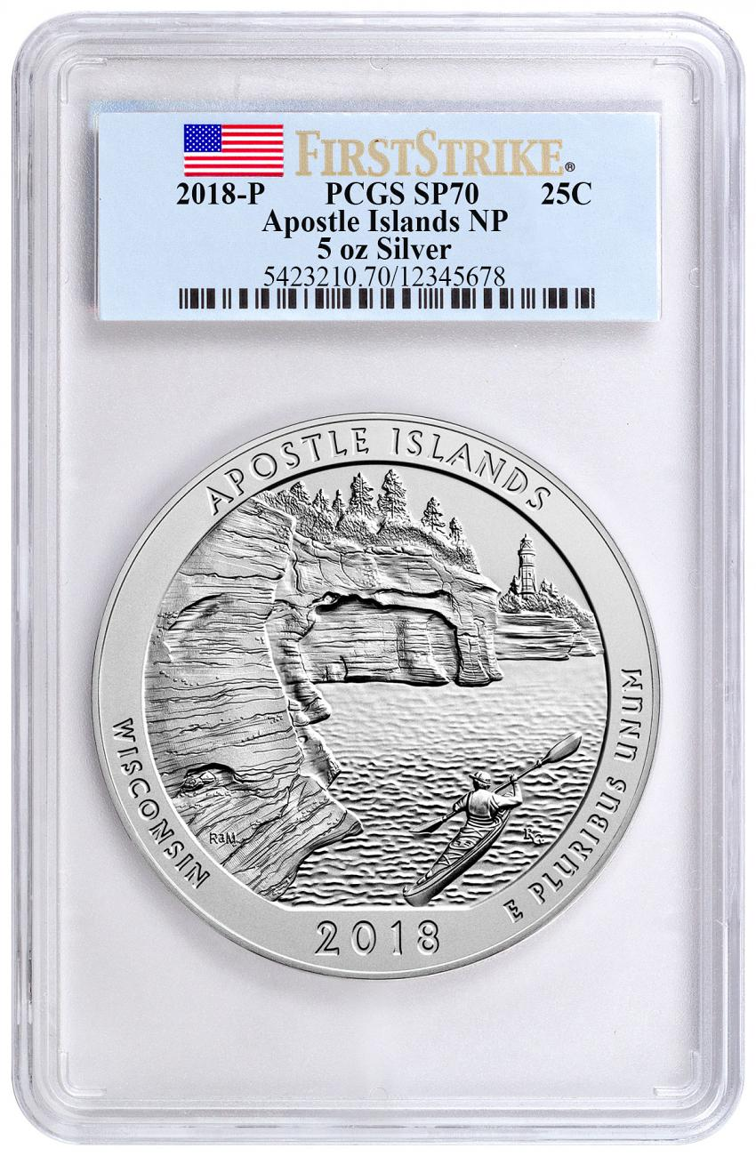 2018 Apostle Islands 5 oz. Silver America the Beautiful Specimen Coin PCGS SP70 FS Flag Label