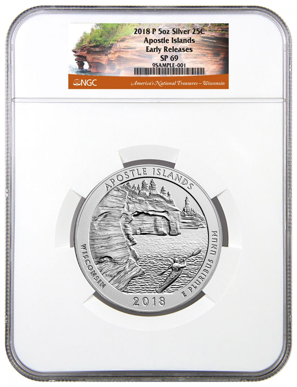 2018 Apostle Islands 5 oz. Silver America the Beautiful Specimen Coin NGC SP69 ER