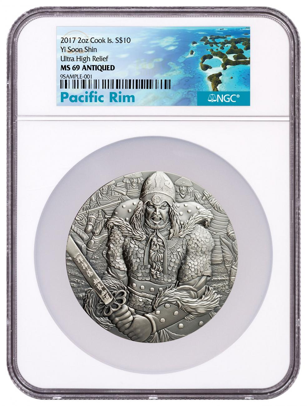 2017 Cook Islands Yi Soon Shin 2 oz Silver Antiqued $10 Coin NGC MS69 Exclusive Pacific Rim Label with Comic Book