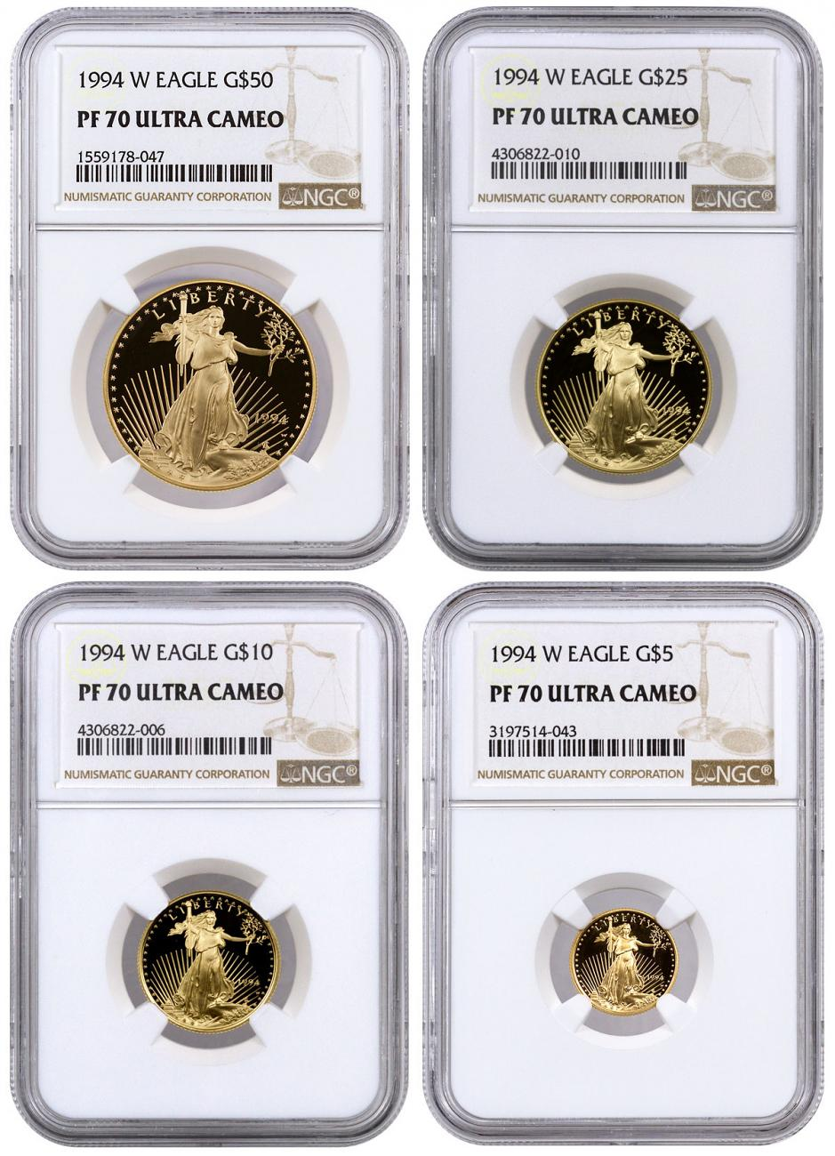 1994-W Gold American Eagle Proof 4-Coin Set NGC PF70 UC