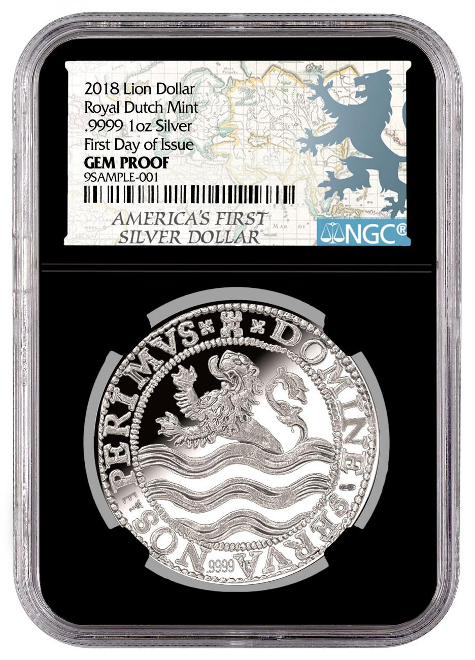 2018 Netherlands Silver 1 Lion Dollar NGC GEM Proof FDI Black Core Holder