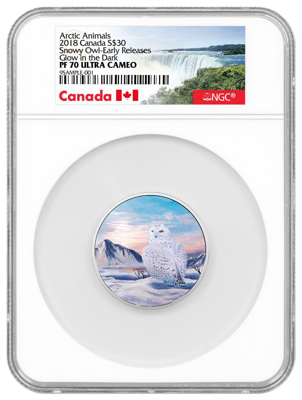 2018 Canada Arctic Animals and Northern Lights - Snowy Owl 2 oz Silver Glow in the Dark Colorized Proof 30 Coin NGC PF70 UC ER Exclusive Canada Label