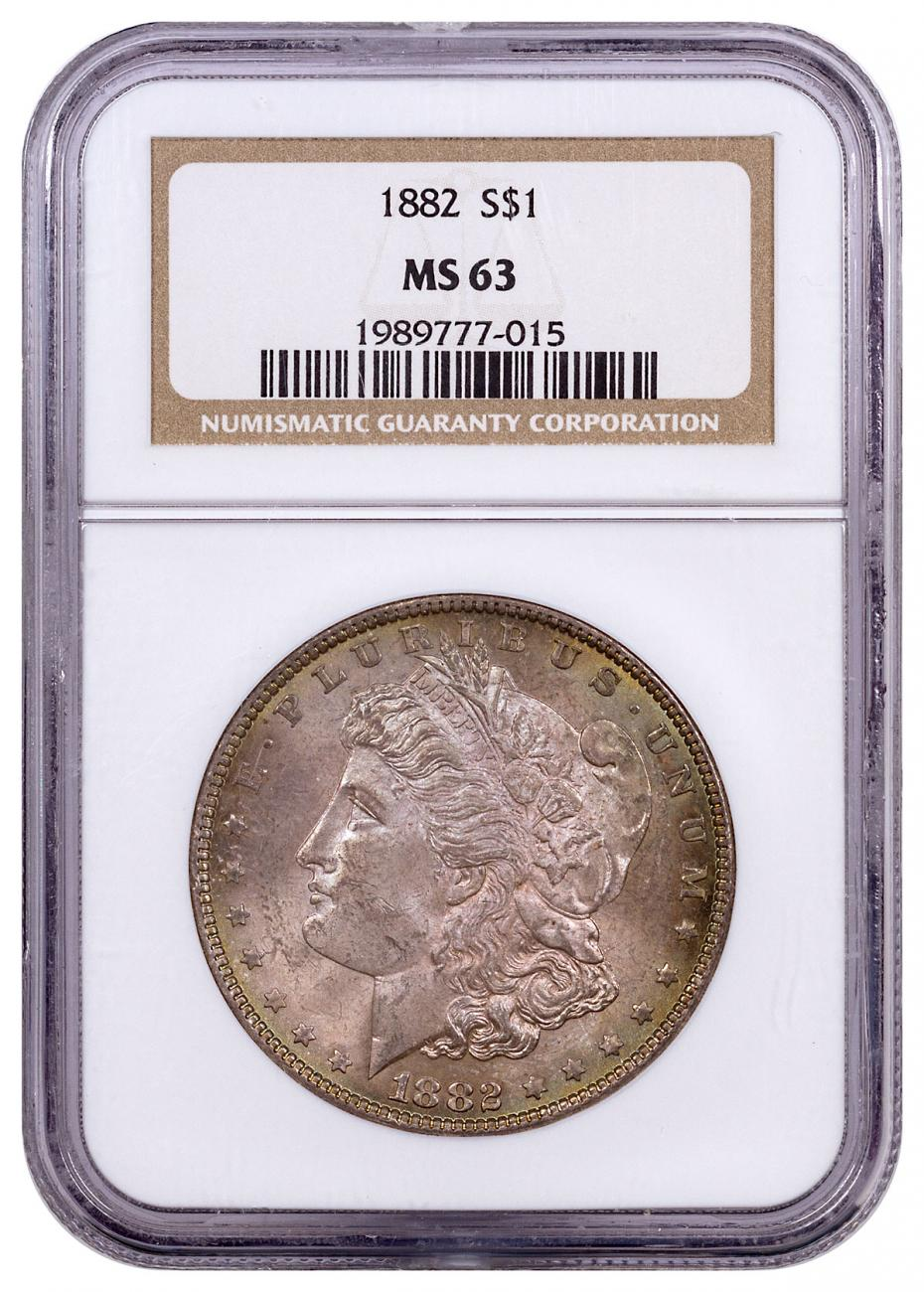 1882 Morgan Silver Dollar Toned NGC MS63