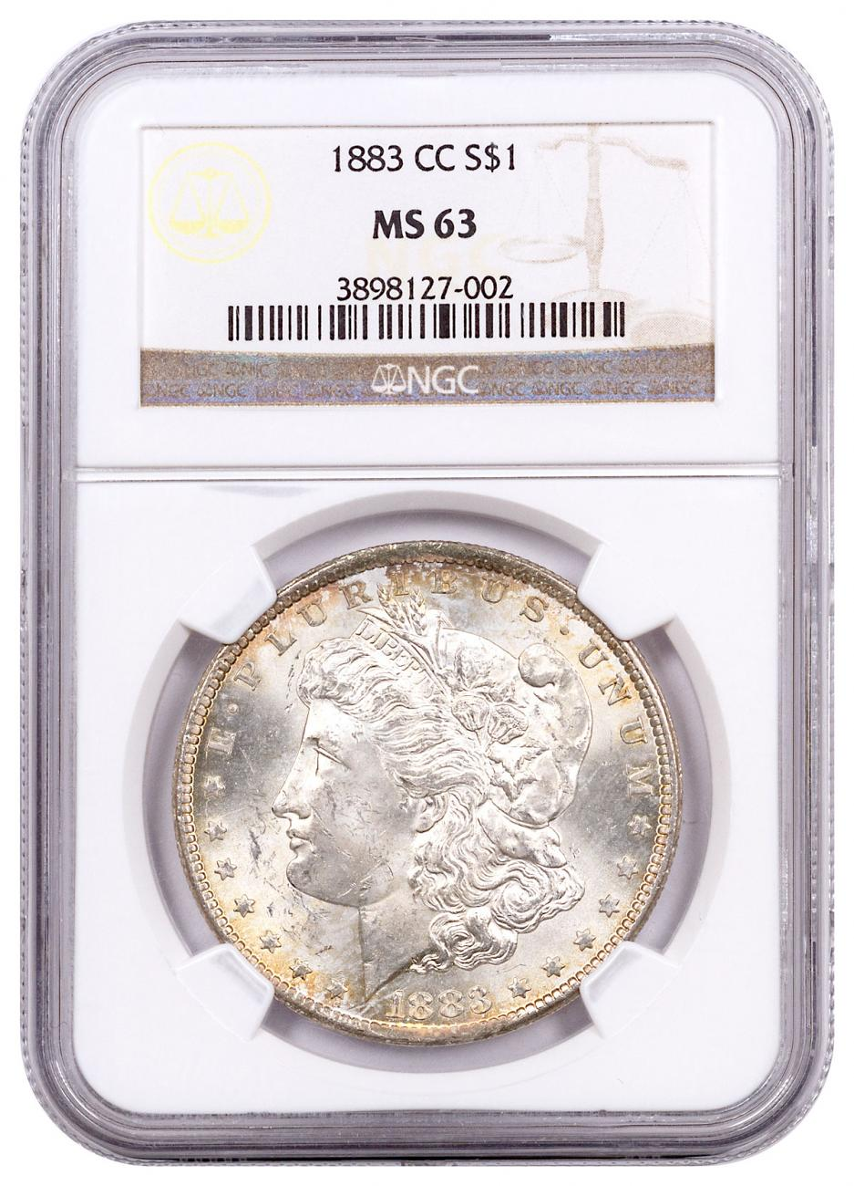 1883-CC Morgan Silver Dollar Toned NGC MS63