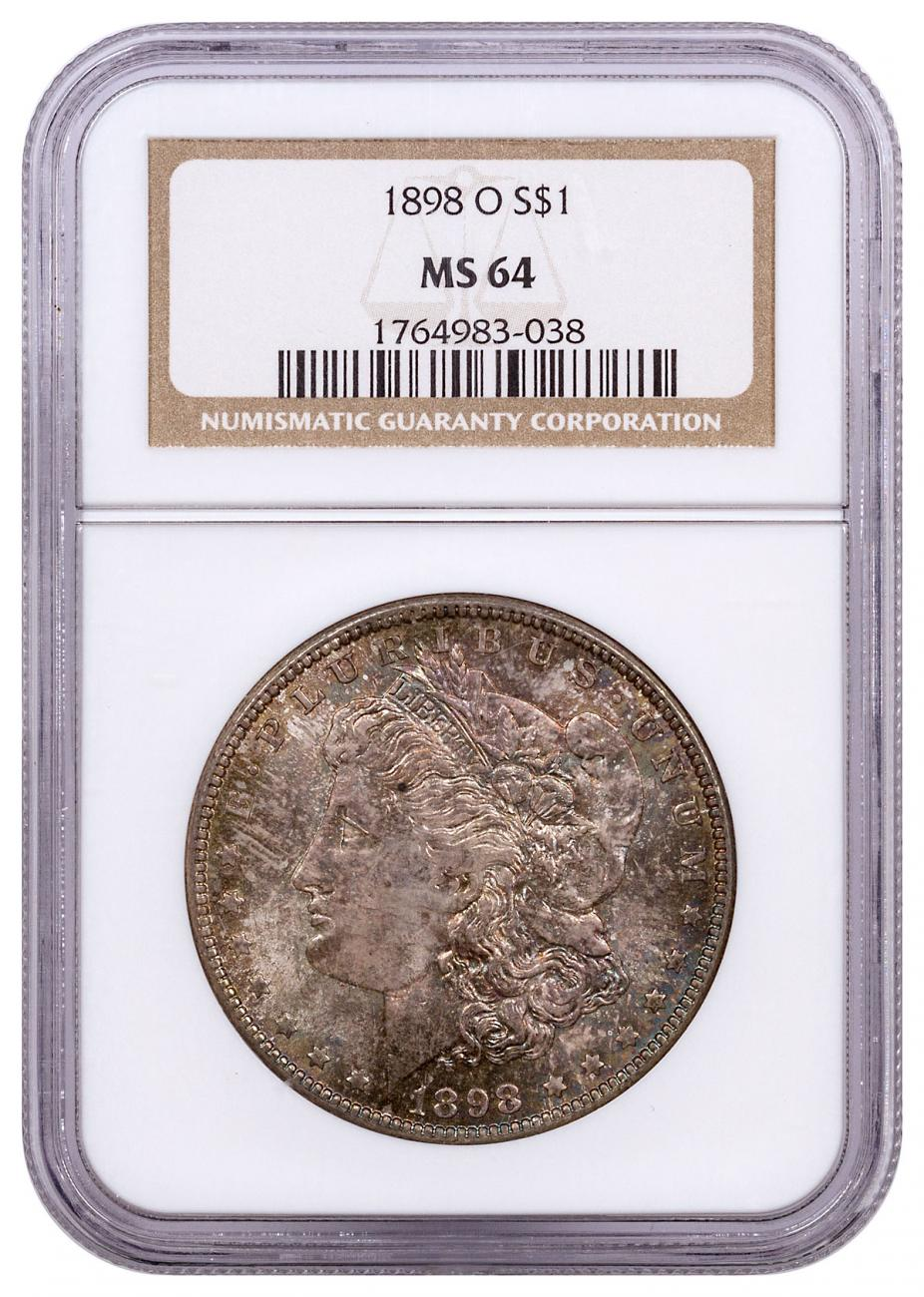 1898-O Morgan Silver Dollar Toned NGC MS64