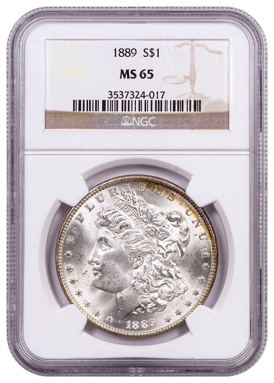 1889 Morgan Silver Dollar Toned NGC MS65