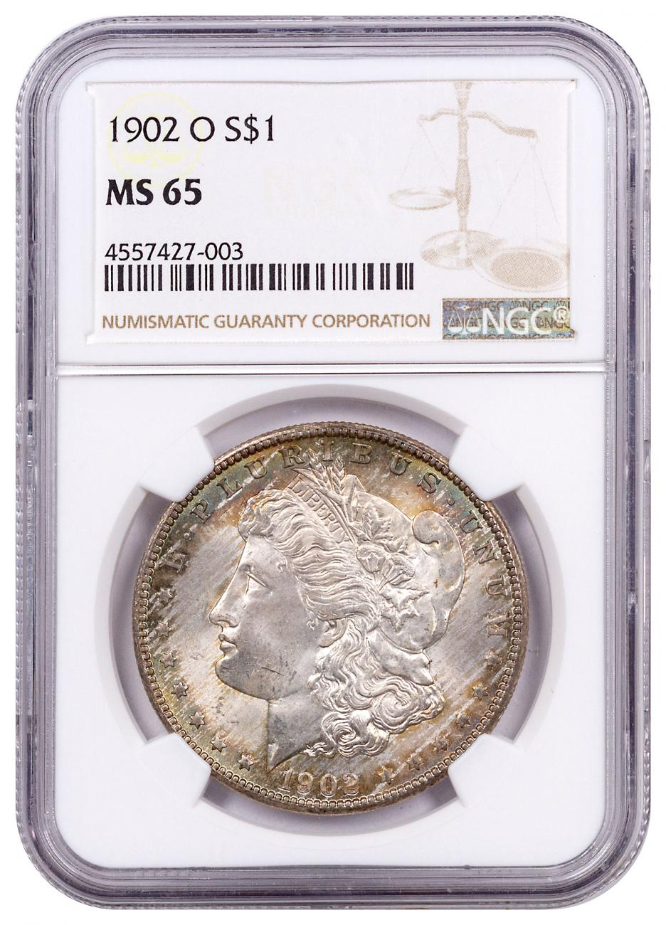 1902-O Morgan Silver Dollar Toned NGC MS65