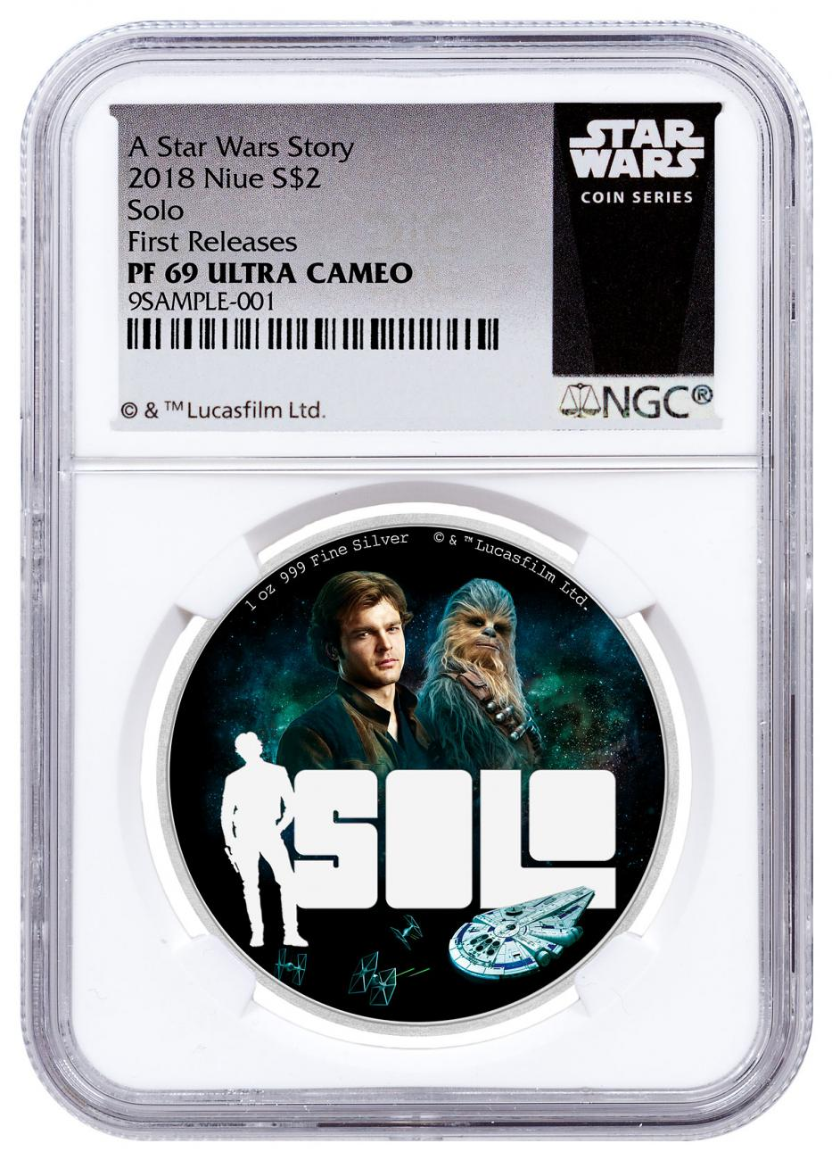2018 Niue Han Solo: A Star Wars Story 1 oz Silver Colorized Proof $2 Coin NGC PF69 UC FR Exclusive Star Wars Label