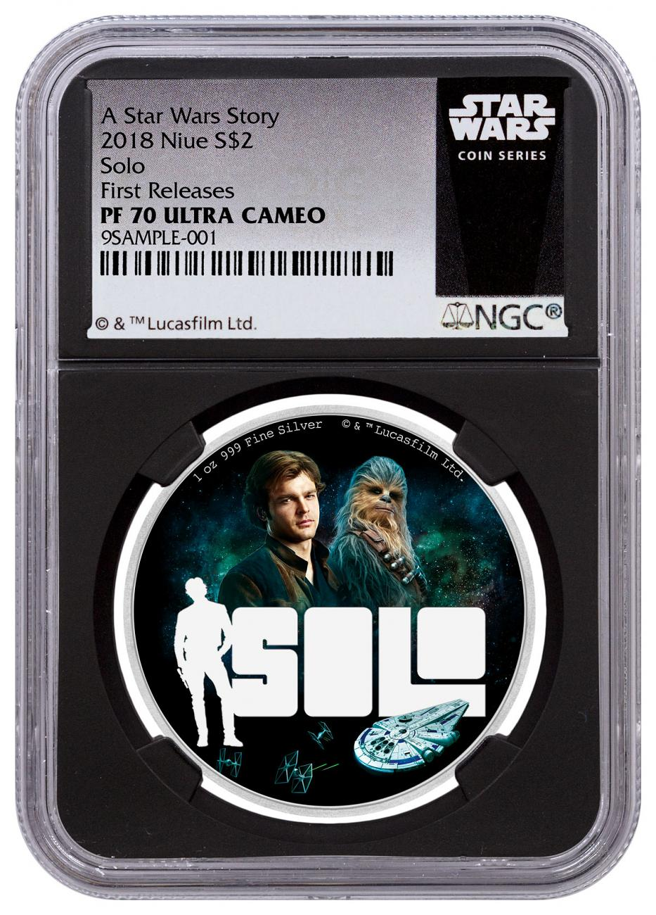 2018 Niue Han Solo: A Star Wars Story 1 oz Silver Colorized Proof $2 Coin NGC PF70 UC FR Black Core Holder Exclusive Star Wars Label