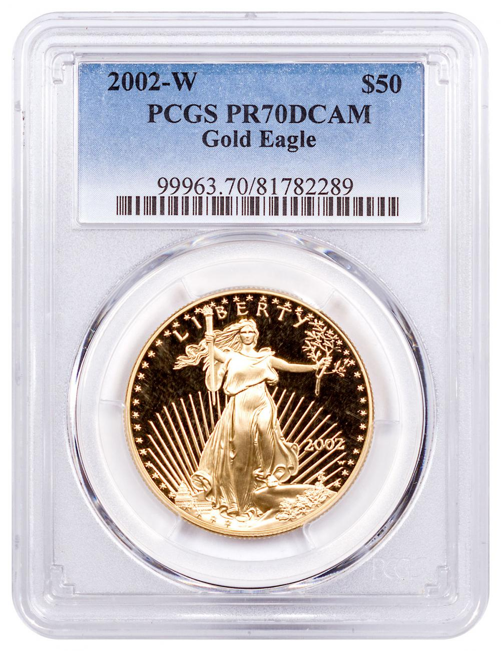 2002-W 1 oz Gold American Eagle Proof $50 PCGS PR70 DCAM