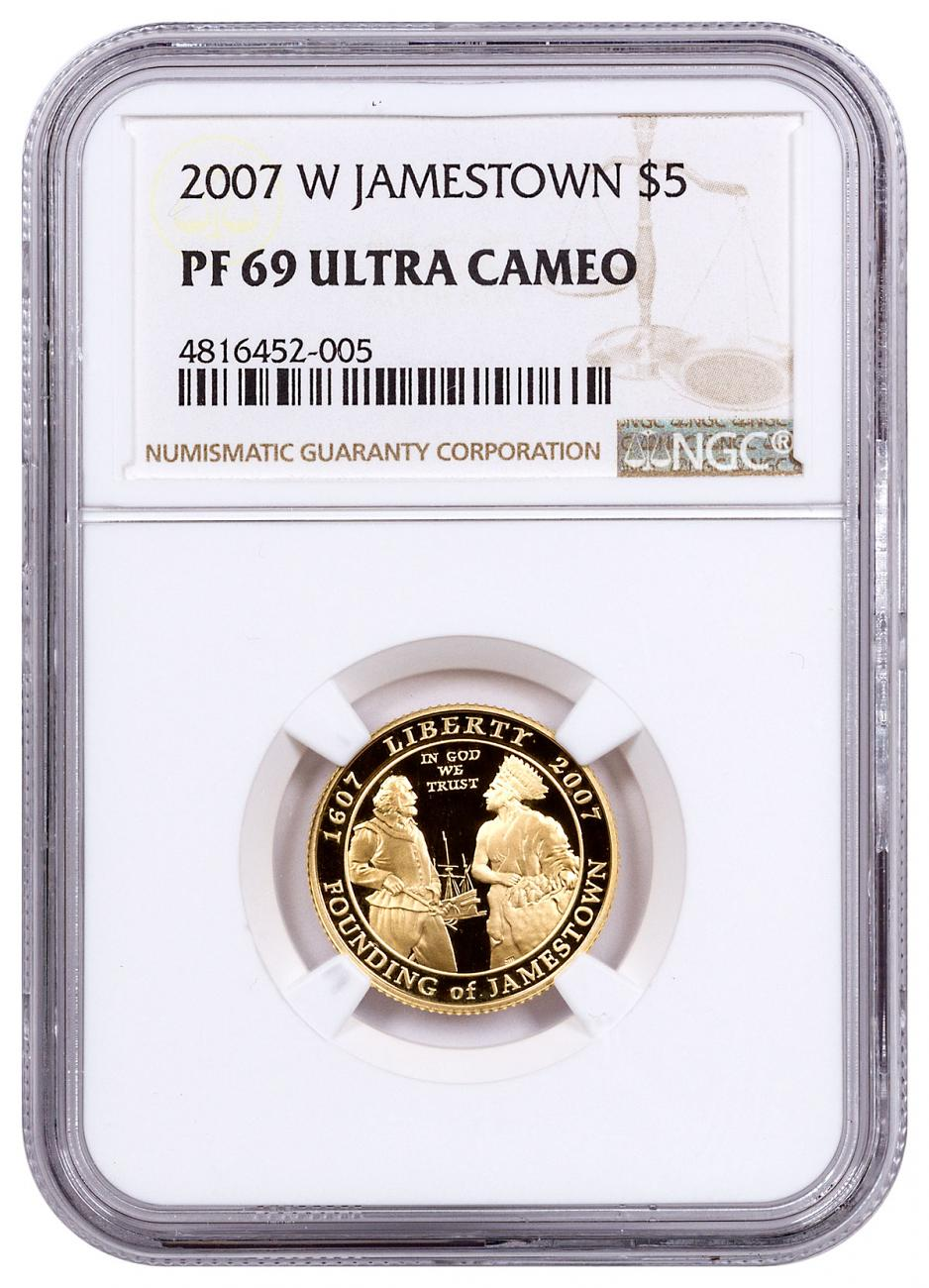 2007-W Jamestown 400th Anniversary $5 Gold Commemorative Proof NGC PF69 UC