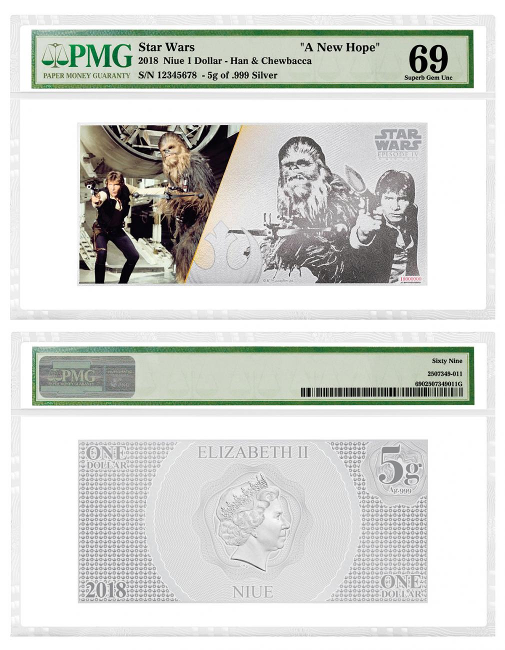2018 Niue Star Wars: A New Hope - Han Solo and Chewbacca Foil Note 5 g Silver Colorized Proof $1 Coin PMG GEM Unc 69