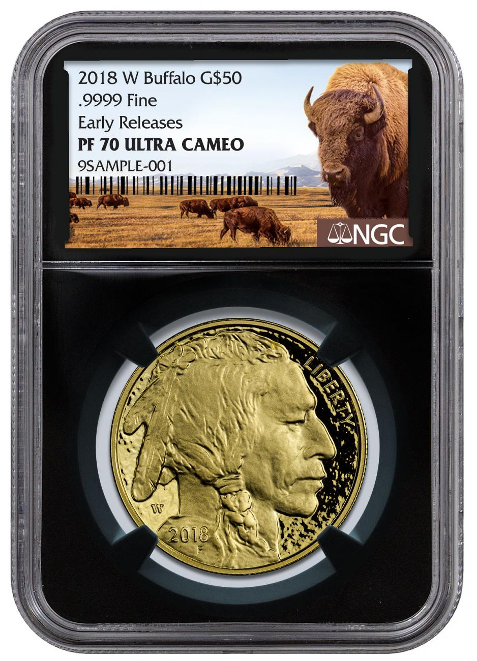 2018-W 1 oz Gold Buffalo Proof $50 Coin NGC PF70 UC ER Black Core Holder Buffalo Label
