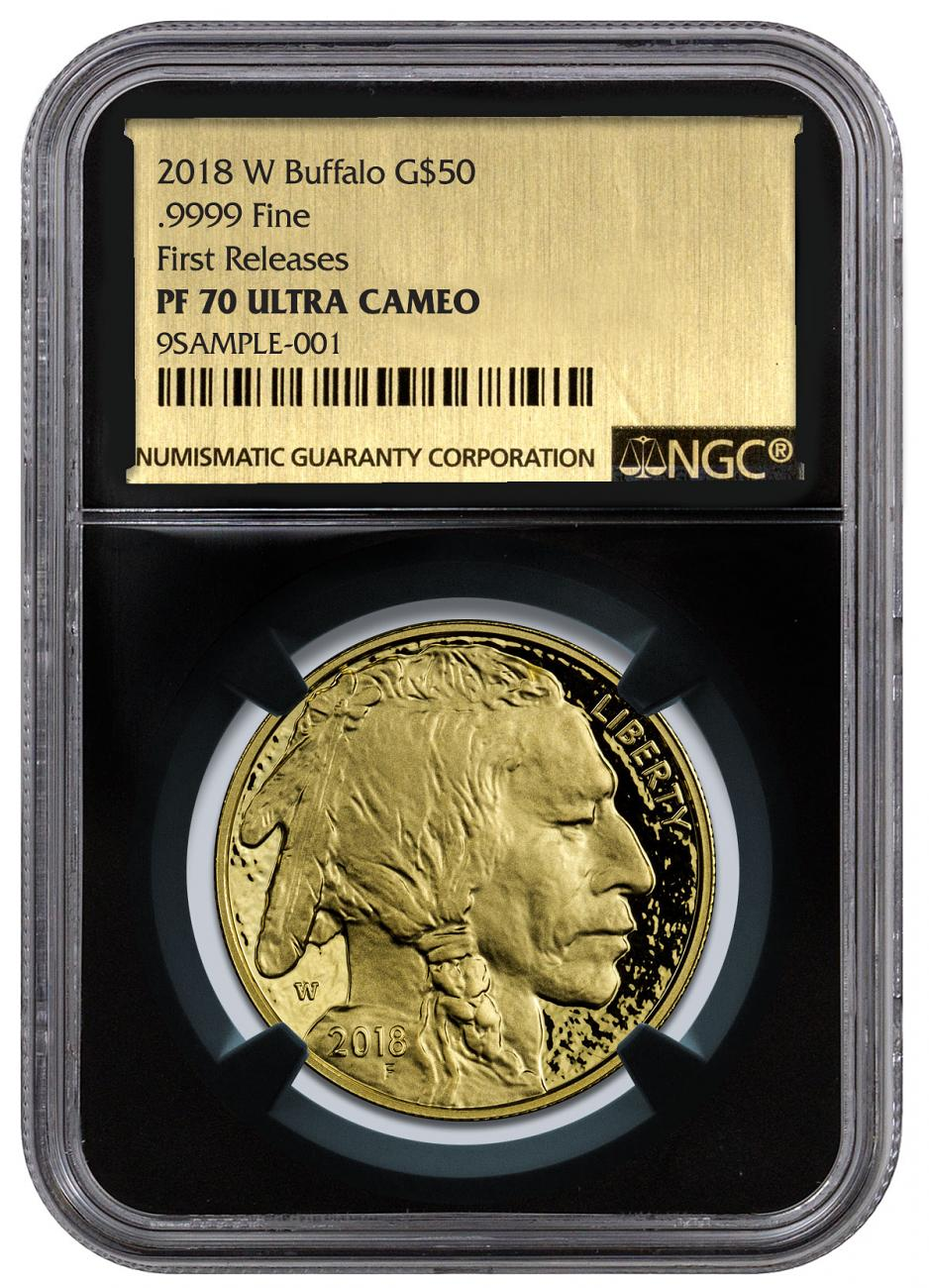 2018-W 1 oz Gold Buffalo Proof $50 Coin NGC PF70 UC FR Black Core Holder Exclusive Gold Foil Label