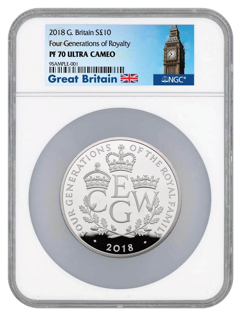 2018 Great Britain Four Generations of Royalty 5 oz Silver Proof £10 Coin NGC PF70 UC Exclusive Big Ben Label