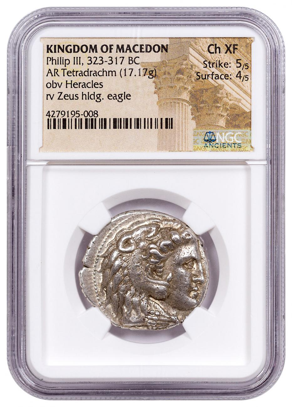 Macedon, Silver Tetradrachm of Philip III (323-317 BC) - NGC Ch.XF (Strike: 5/5, Surface: 4/5)