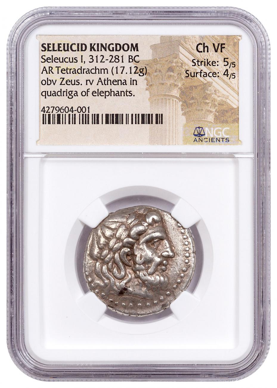 Seleucid Empire, Silver Tetradrachm of Seleucus I (312-281 BC) - NGC Ch.VF (Strike: 5/5, Surface: 4/5) ELEPHANT QUADRIGA