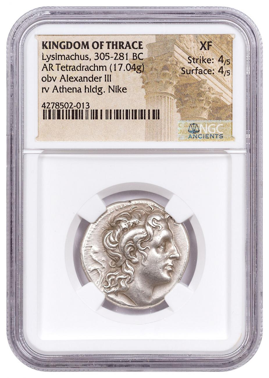 Macedon, Silver Tetradrachm of Lysimachus (305-281 BC) - NGC XF (Strike: 4/5, Surface: 4/5) ARTISTIC PORTRAIT