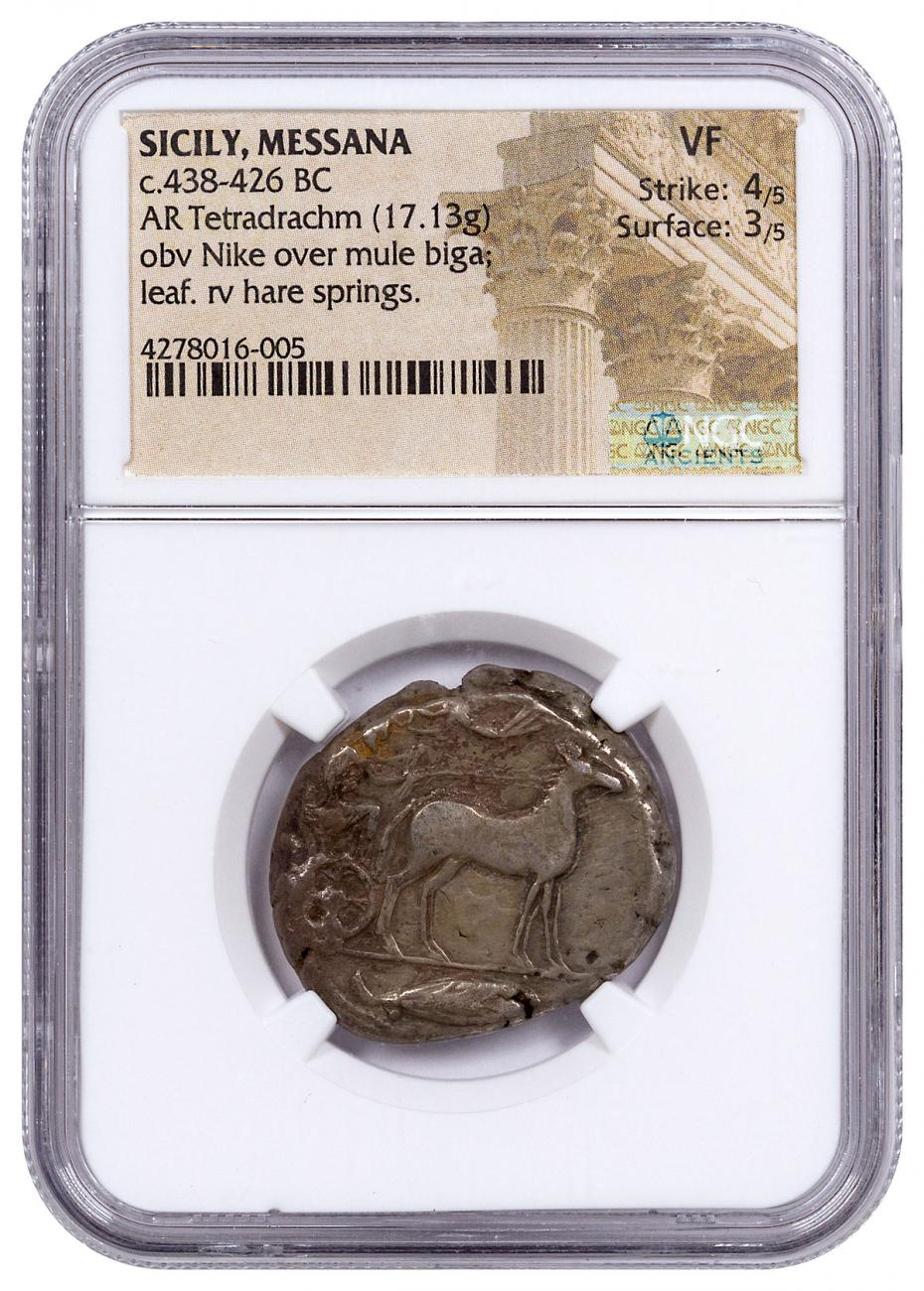 Sicily, Messana Silver Tetradrachm (c.438-426 BC) - NGC VF (Strike: 4/5, Surface: 3/5)