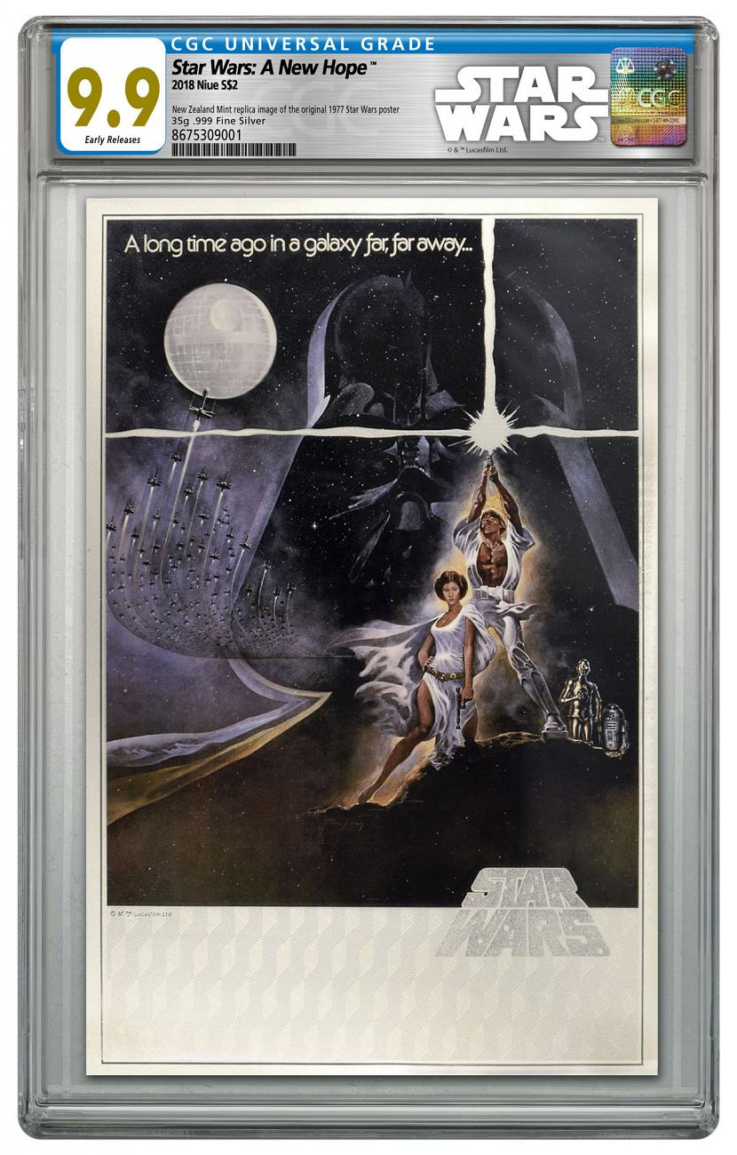 2018 Niue Star Wars Posters - A New Hope Silver Foil Note 35 g Silver Colorized $2 Coin CGC Mint 9.9 ER Star Wars Label