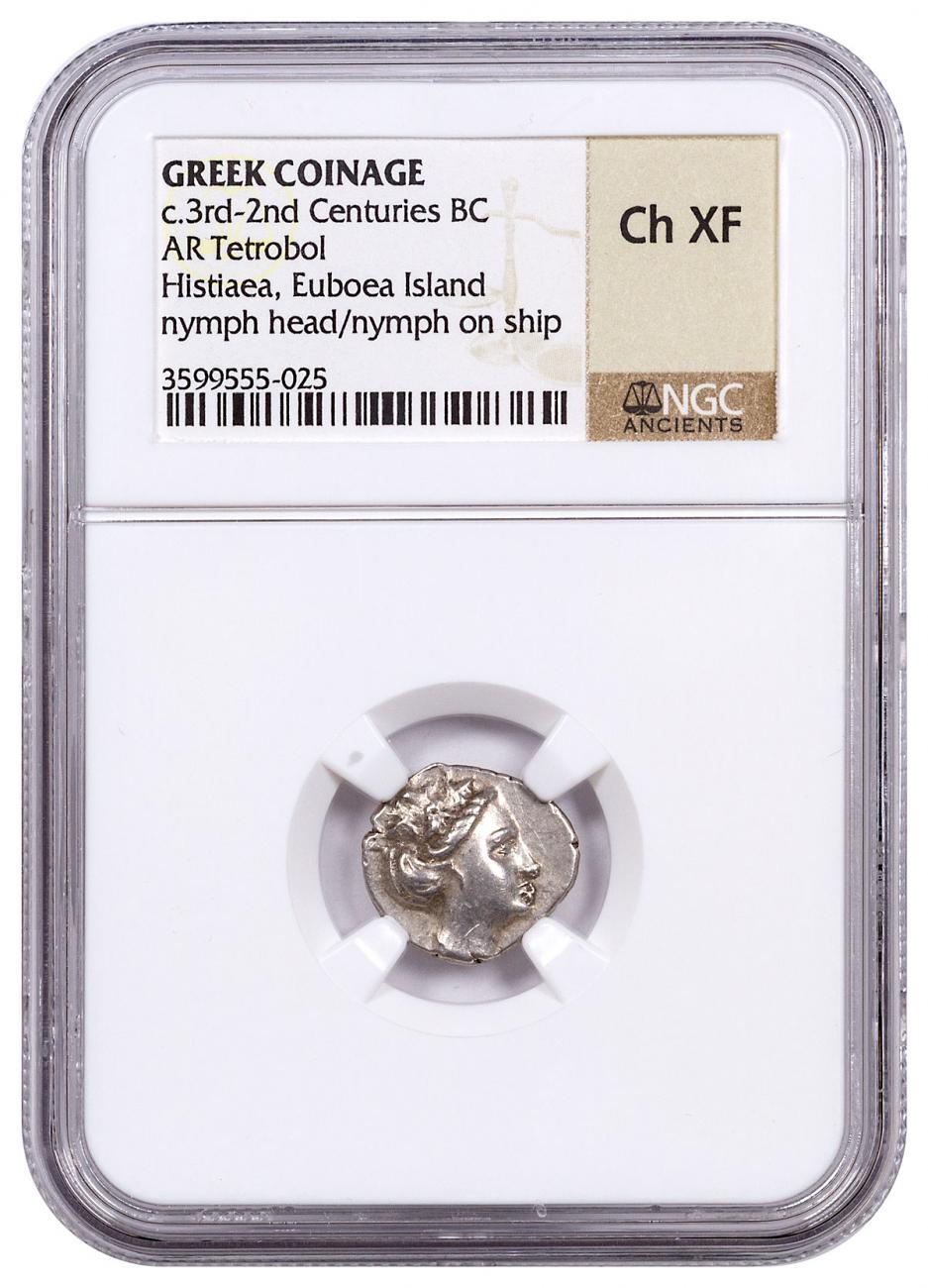 Greek Island of Euboea, Histiaea Silver Tetrobol (c.3rd-2nd Centuries BC) - obv. Nymph/rv. Nymph on Stern of Ship NGC Ch. XF