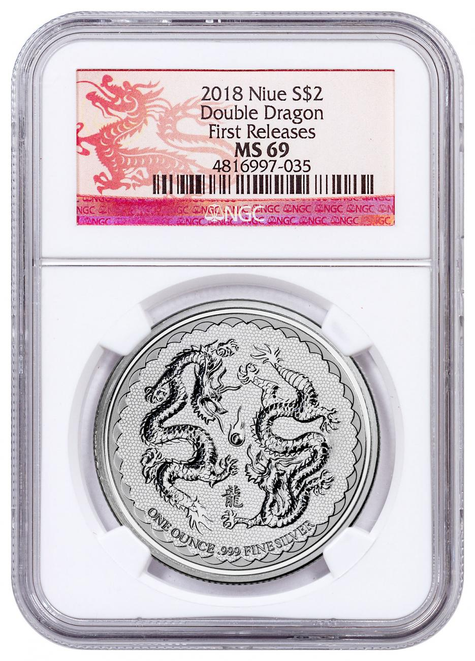 2018 Niue 1 oz Silver Double Dragon - Pearl of Wisdom $2 Coin NGC MS69 FR Dragon Label
