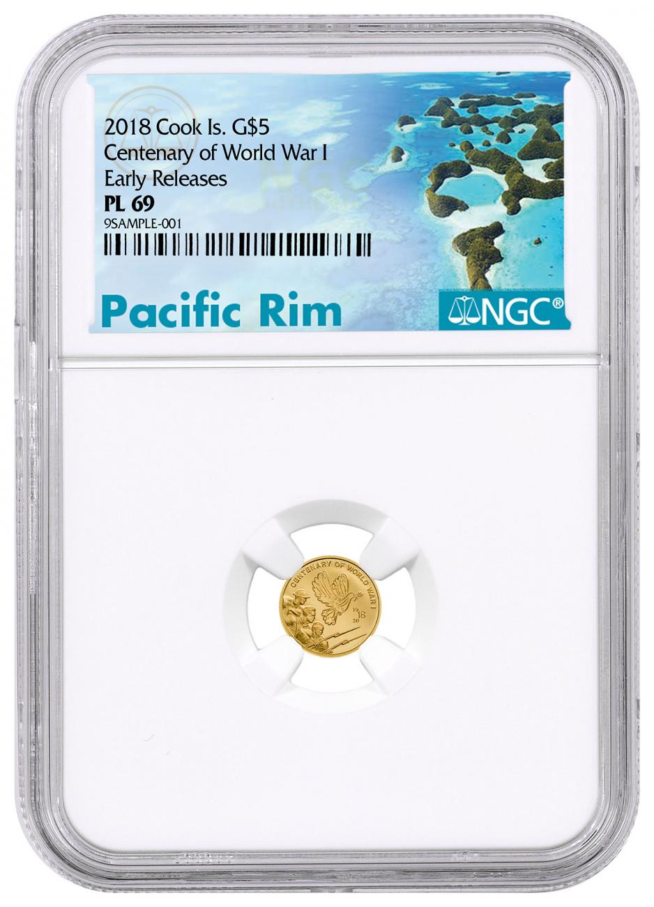 2018 Cook Islands Centenary of World War I Gold Prooflike $5 Coin NGC PL69 ER Exclusive Pacific Rim Label