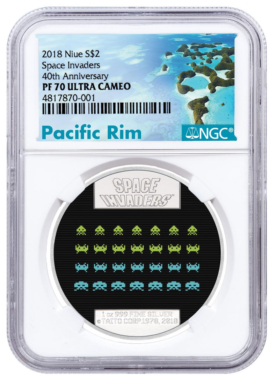 2018 Niue Space Invaders 1 oz Silver Lenticular Proof $2 Coin NGC PF70 UC Exclusive Pacific Rim Label