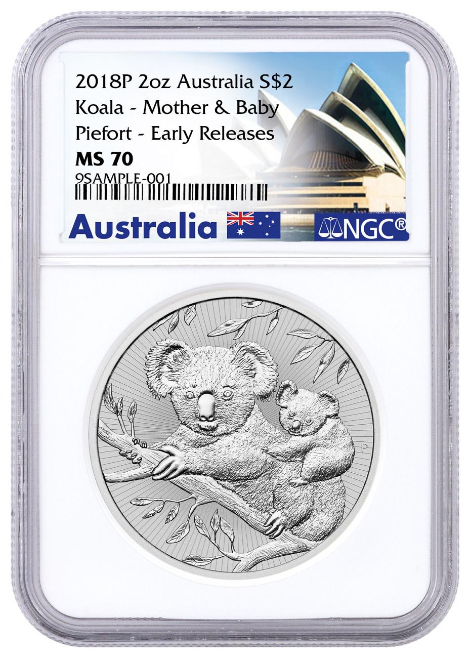 2018-P Australia 2 oz Silver Koala - Mother & Baby $2 Coin Piedfort NGC MS70 ER Exclusive Australia Label