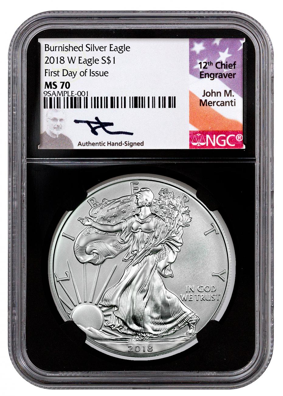 2018 W Burnished 1 American Silver Eagle Ngc Ms70 Liberty Coin Act Er Label