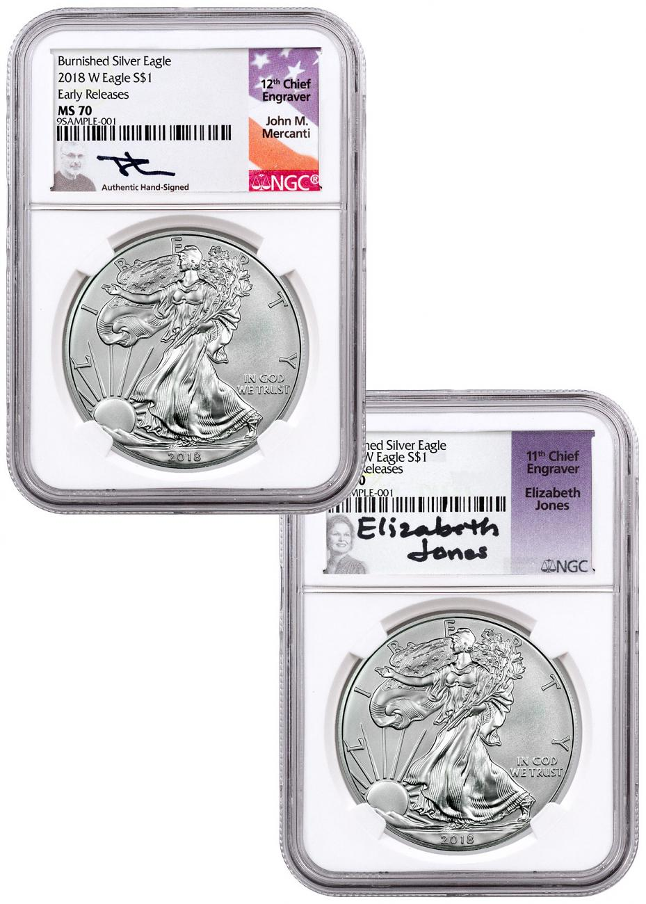 2-Coin Set - 2018-W Burnished American Silver Eagle NGC MS70 ER Mercanti + Jones Signed Labels
