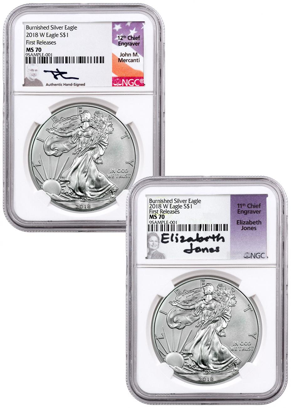 2-Coin Set - 2018-W Burnished American Silver Eagle NGC MS70 FR Mercanti + Jones Signed Labels