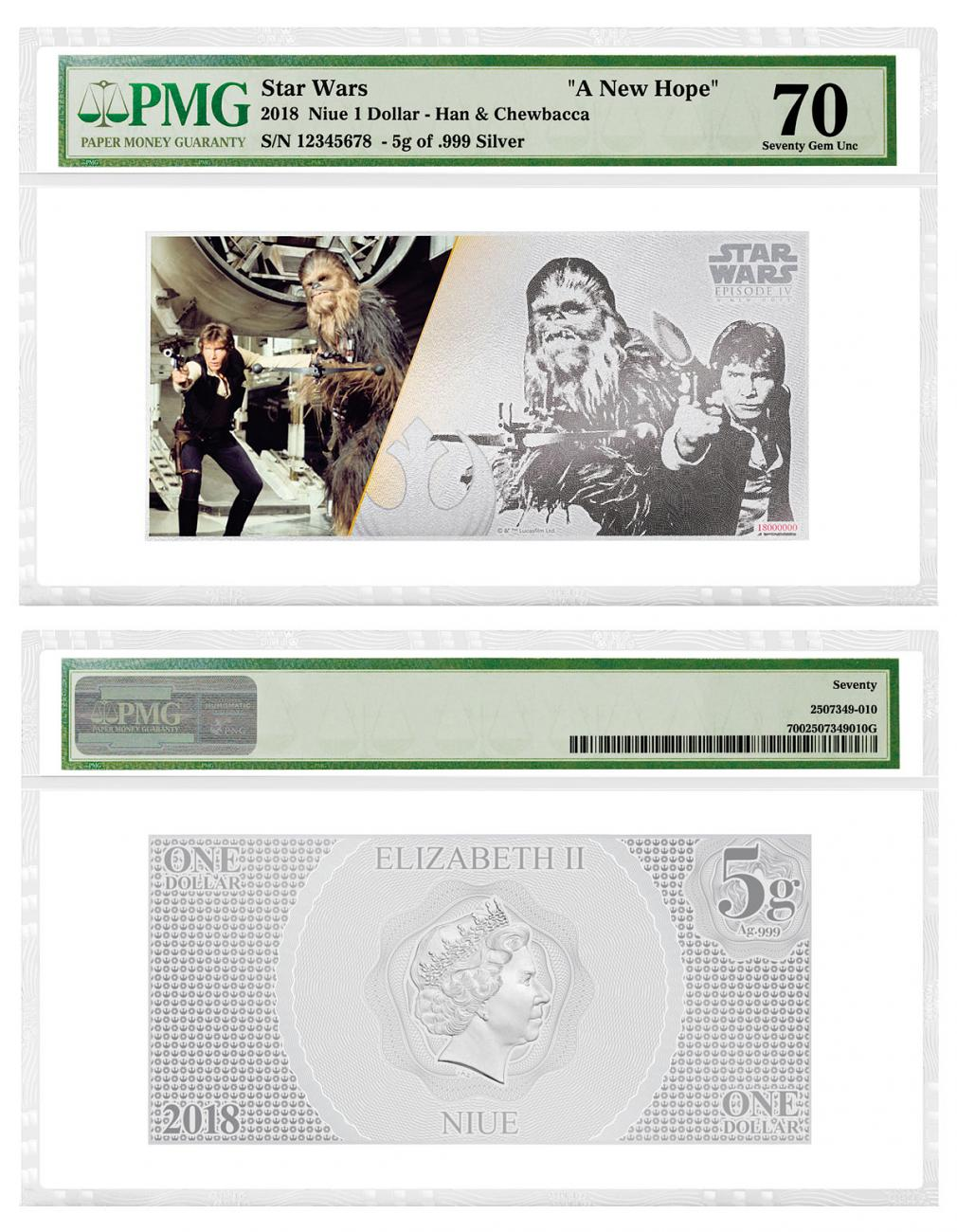 2018 Niue Star Wars: A New Hope - Han Solo and Chewbacca Foil Note 5 g Silver Colorized Proof $1 Coin PMG Gem Unc 70