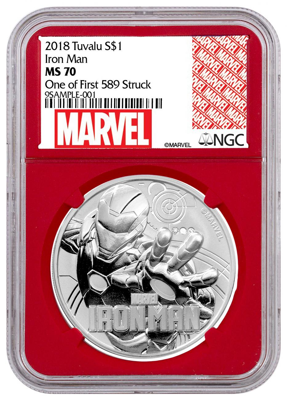 2018 Tuvalu Iron Man 1 oz Silver Marvel Series $1 Coin NGC MS70 One of First 589 Struck Red Core Holder Marvel label