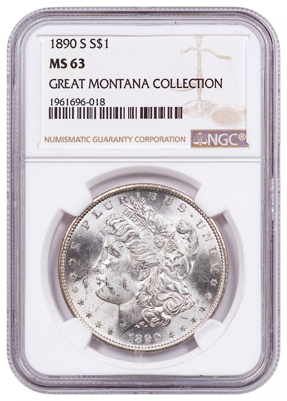 1890-S Morgan Silver Dollar From the Great Montana Collection NGC MS63