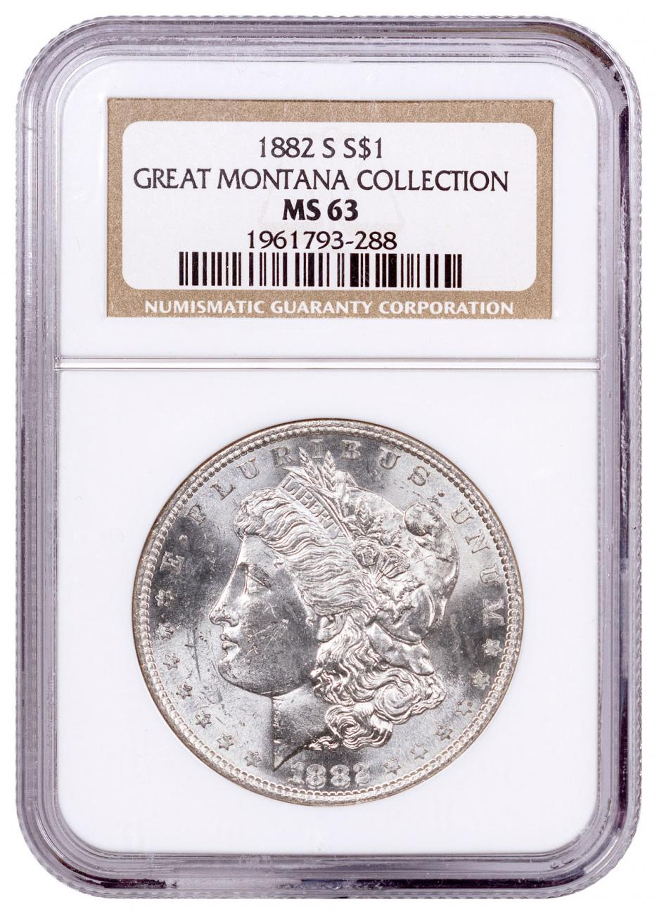 1882-S Morgan Silver Dollar From the Great Montana Collection NGC MS63