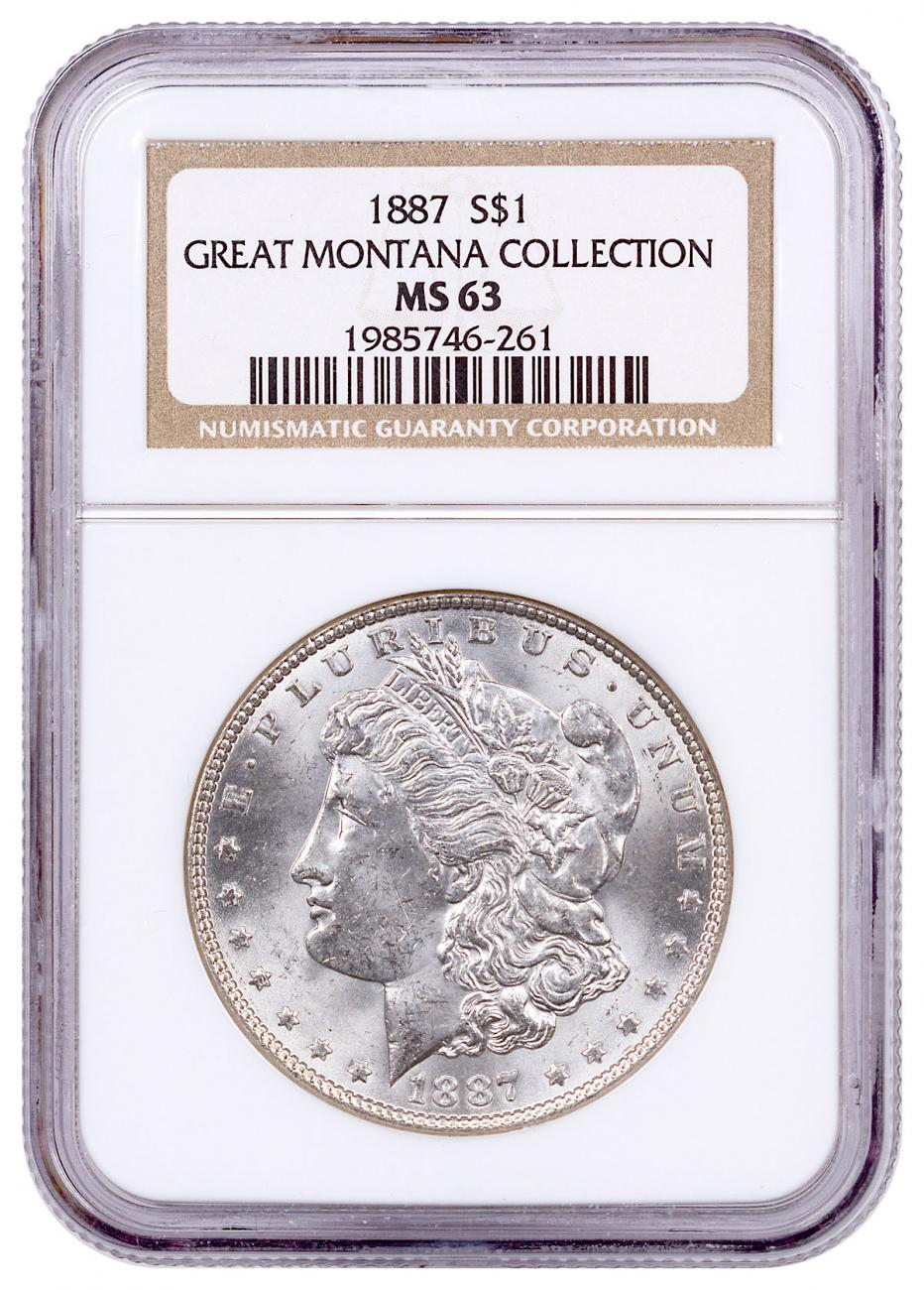 1887 Morgan Silver Dollar From the Great Montana Collection NGC MS63