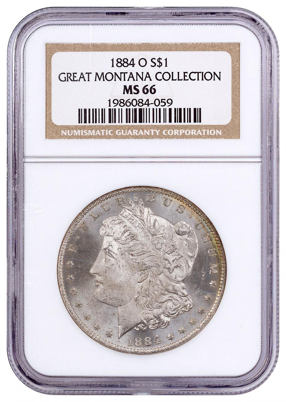 1884-O Morgan Silver Dollar From the Great Montana Collection NGC MS66 with Morgan Guide