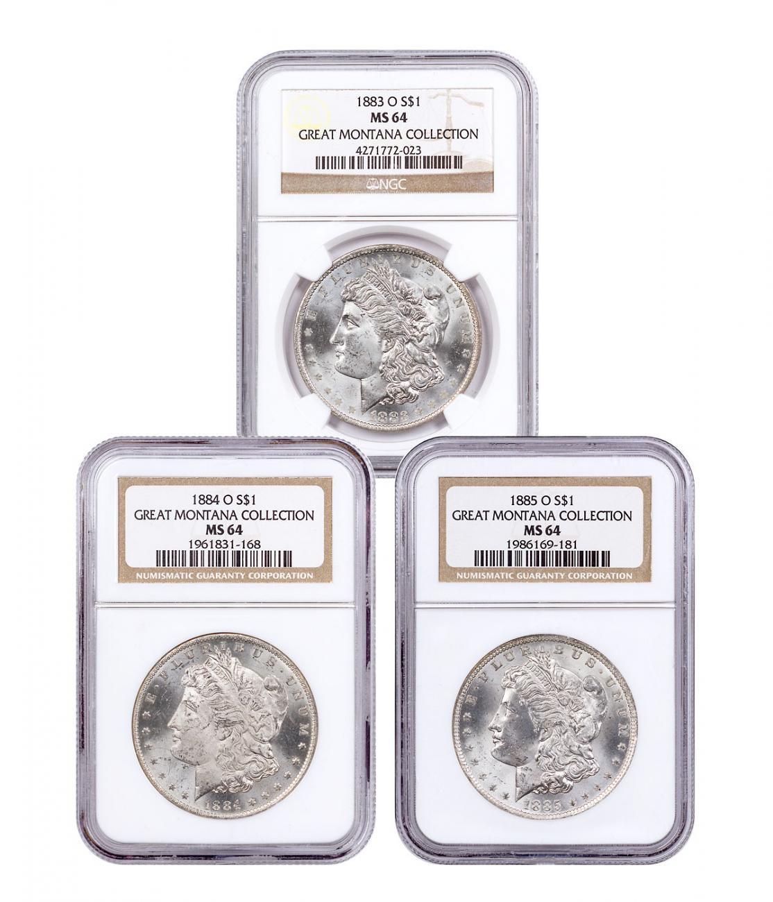 3-Coin Set - 1883-1885-O Silver Morgan Dollar From the Great Montana Collection NGC MS64