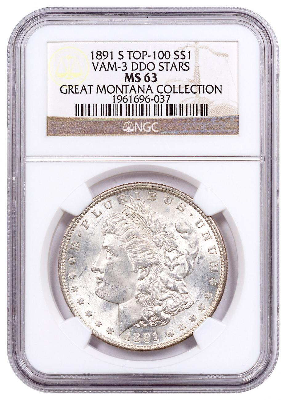 1891-S Morgan Silver Dollar From the Great Montana Collection NGC MS63 VAM-3 DDO Stars