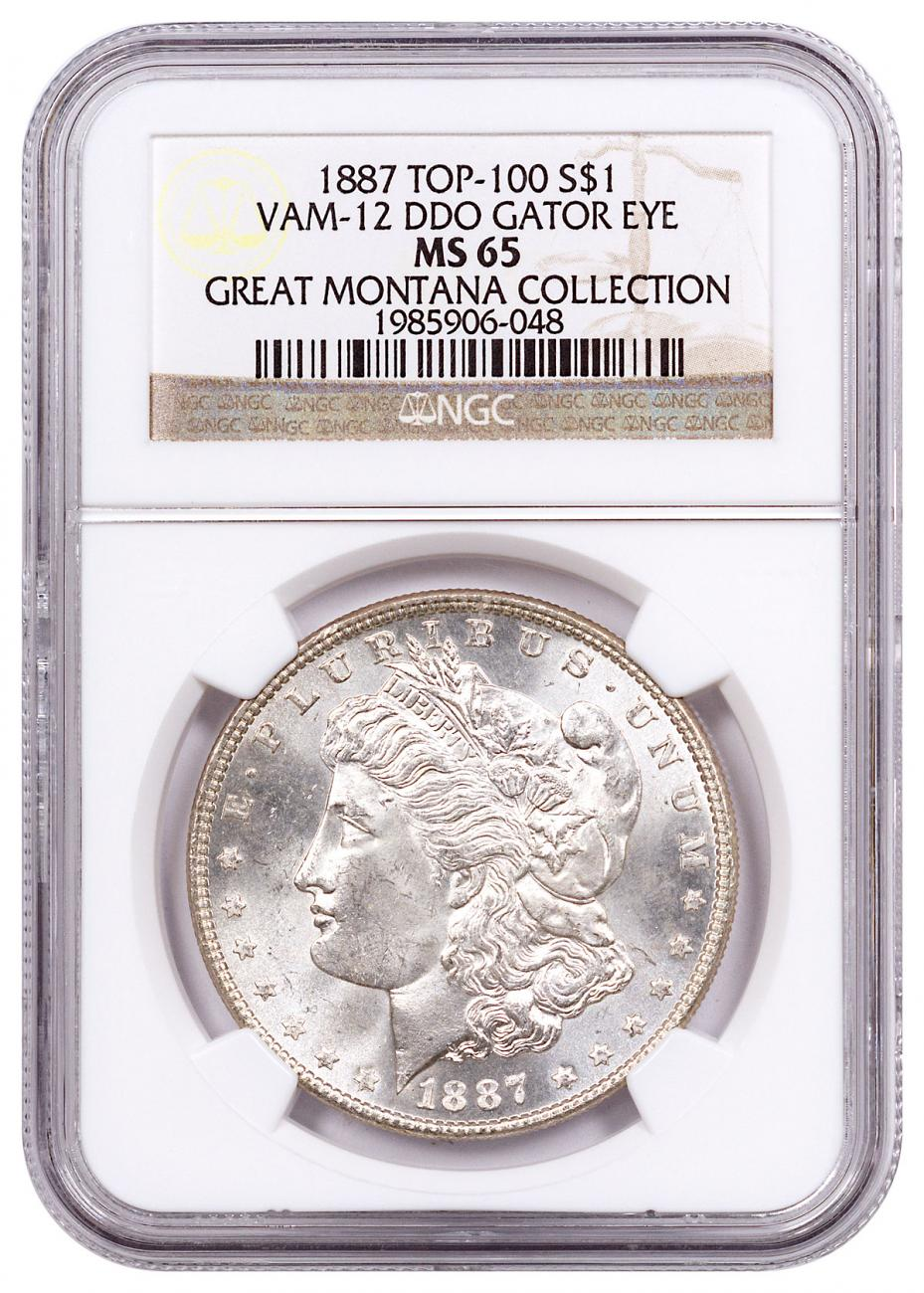 1887 Morgan Silver Dollar From the Great Montana Collection NGC MS65 VAM-12 DDO Gator Eye