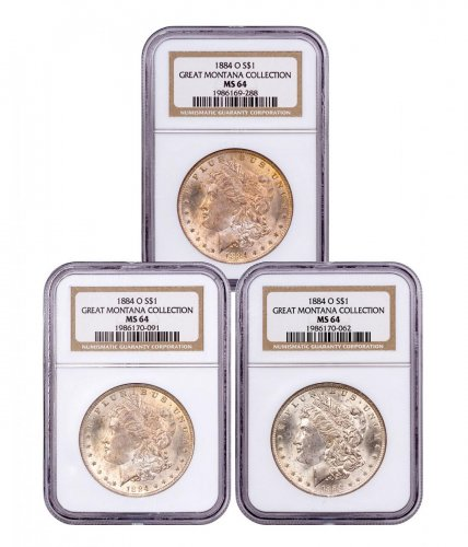 3-Coin Set - 1884-O Morgan Silver Dollar From the Great Montana Collection NGC MS64 Toned CPCR 9288