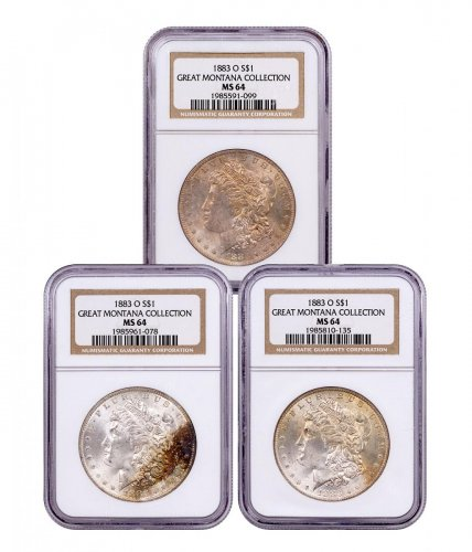3-Coin Set - 1883-O Morgan Silver Dollar From the Great Montana Collection NGC MS64 Toned CPCR 1099