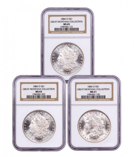 3-Coin Set - 1884-O Morgan Silver Dollar From the Great Montana Collection NGC MS65 Toned CPCR 2121