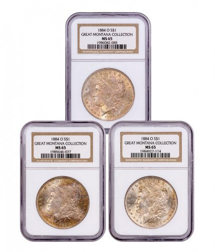 3-Coin Set - 1884-O Morgan Silver Dollar From the Great Montana Collection NGC MS65 Toned CPCR 2085