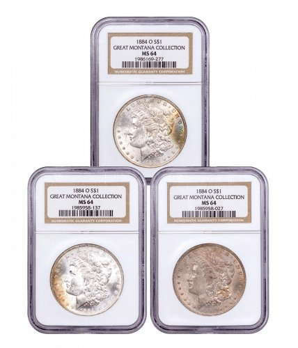 3-Coin Set - 1884-O Morgan Silver Dollar From the Great Montana Collection NGC MS64 Toned CPCR 9277