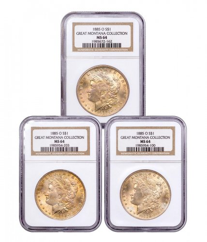 3-Coin Set - 1885-O Morgan Silver Dollar From the Great Montana Collection NGC MS64 Toned CPCR 2162