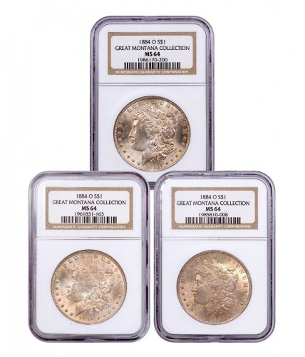 3 Coin Set-1884-O Morgan Silver Dollar From the Great Montana Collection NGC MS64 Toned CPCR 0200