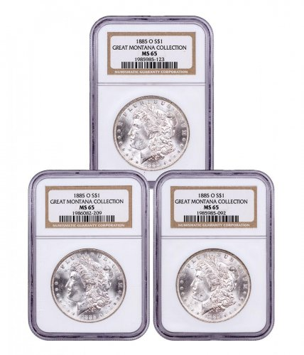 3-Coin Set - 1885-O Morgan Silver Dollar From the Great Montana Collection NGC MS65 Toned CPCR 5123