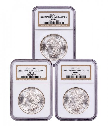3-Coin Set - 1885-O Morgan Silver Dollar From the Great Montana Collection NGC MS64 Toned CPCR 9220